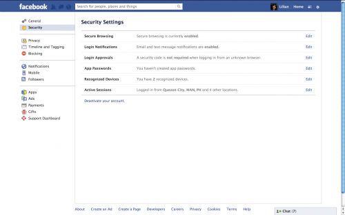 FB Security Settings Page
