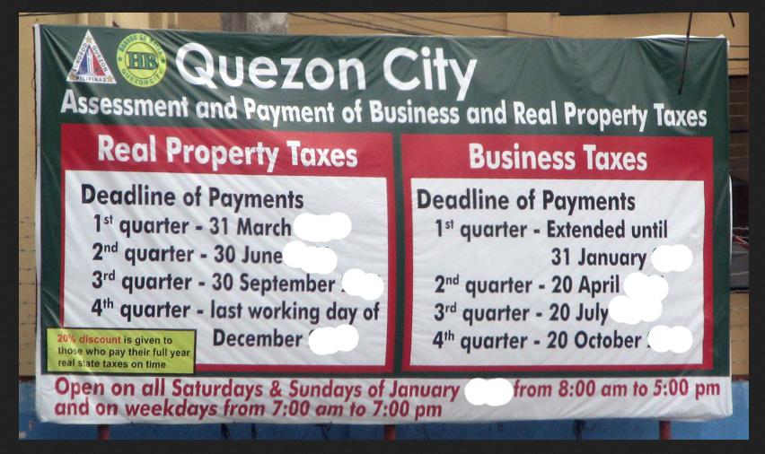 Quezon City Real Estate Tax Deadlines