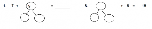 Addition Number Bonds Worksheet (Set B) - Grade 1