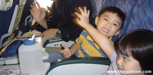 toddlers on a plane