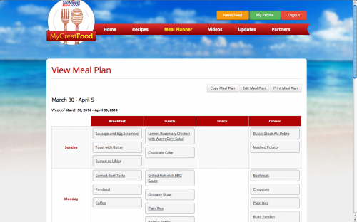 Pure foods My Great Food Meal Plan