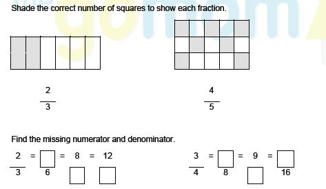 Fractions - Equivalent Fractions Worksheet - Grade 3