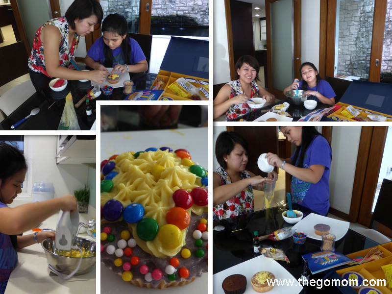 Monde Mamon in Butter Icing, decorating monde mamon, do it yourself mamon decoration, easy cupcake decorating with kids