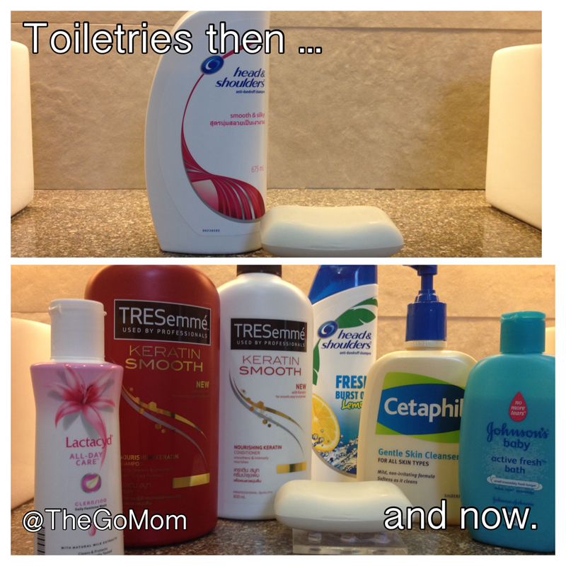 toiletries then and now