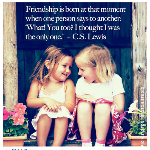 "friendship is born at that moment when one person says to another: ""What? You too? I thought I was the only one!"" by CS Lewis"